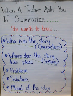 summary poster...it's frustrating when need to challenge them & make the work more rigorous when some kids still can't summarize when they get to 6th grade :-/