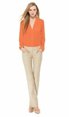 Early Sunset- Create this look with our Ashton Blouse and Drew Sateen Bootcut Pants from THELIMITED.com #TheLimited #AshtonBlouse #SpringStyle