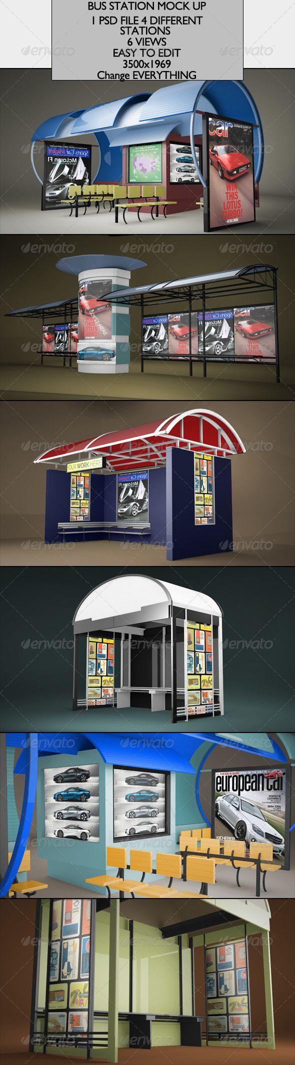 6 poster design photo mockups - Bus Station Mock Up