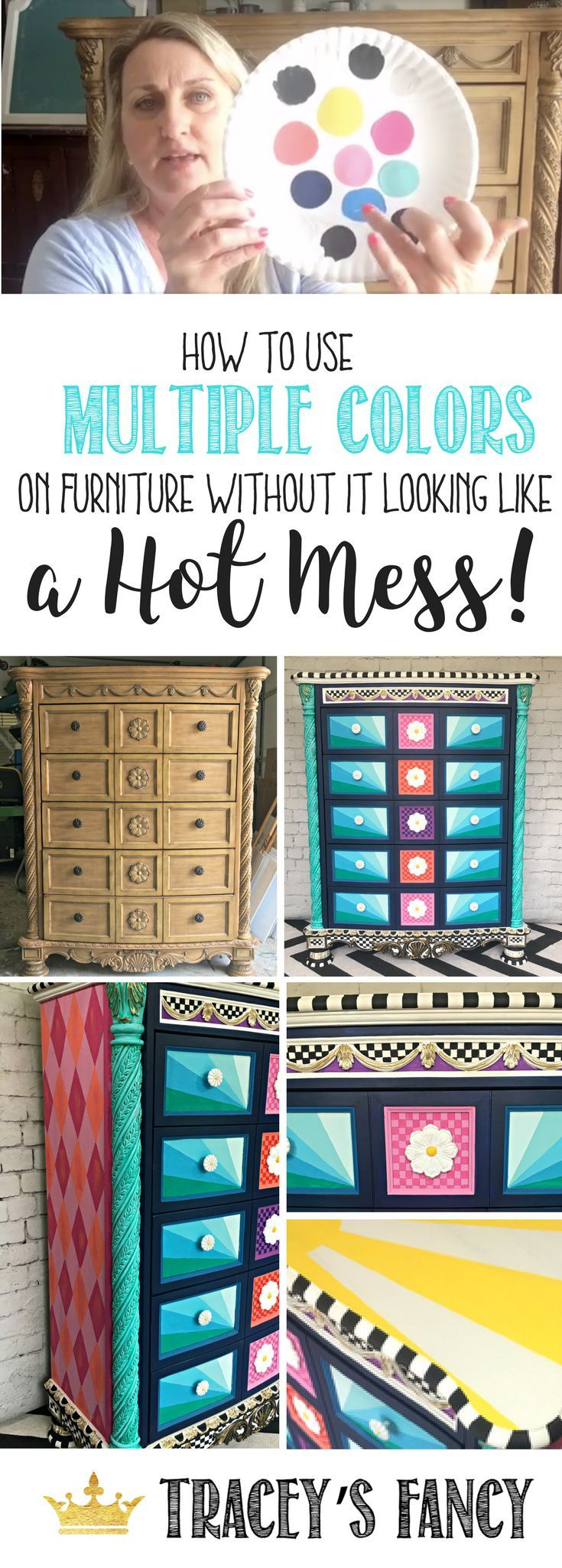 How to use multiple colors on furniture without it looking like a hot mess - Tracey's Fancy shows you how to mix colors on painted furniture and paint furniture with a unique personality not out of a box. Children's furniture ideas. Whimsical Furniture | How to paint furniture | Furniture Painting TIps