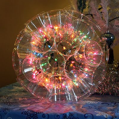 Make a sparkle ball with christmas lights and clear plastic cups stapled  together. Cool Planet | things to make | Christmas, Christmas lights, Diy  christmas ... - Make A Sparkle Ball With Christmas Lights And Clear Plastic Cups