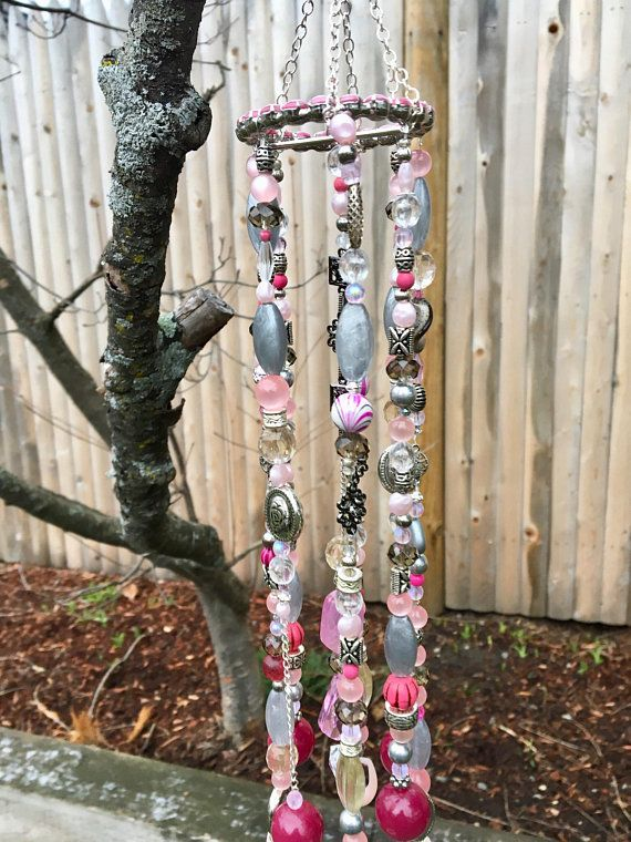 Pink Silver Bead Mobile, Repurposed Jewelry Wind Chimes, Upcycled Sun Catcher, Boho Decor, Hanging Garden Art, Window Decoration, Gift Ideas