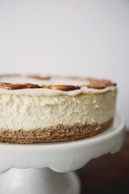 New York Cheesecake with Pretzel/Graham Crust and Salted Caramel Sour Cream Topping