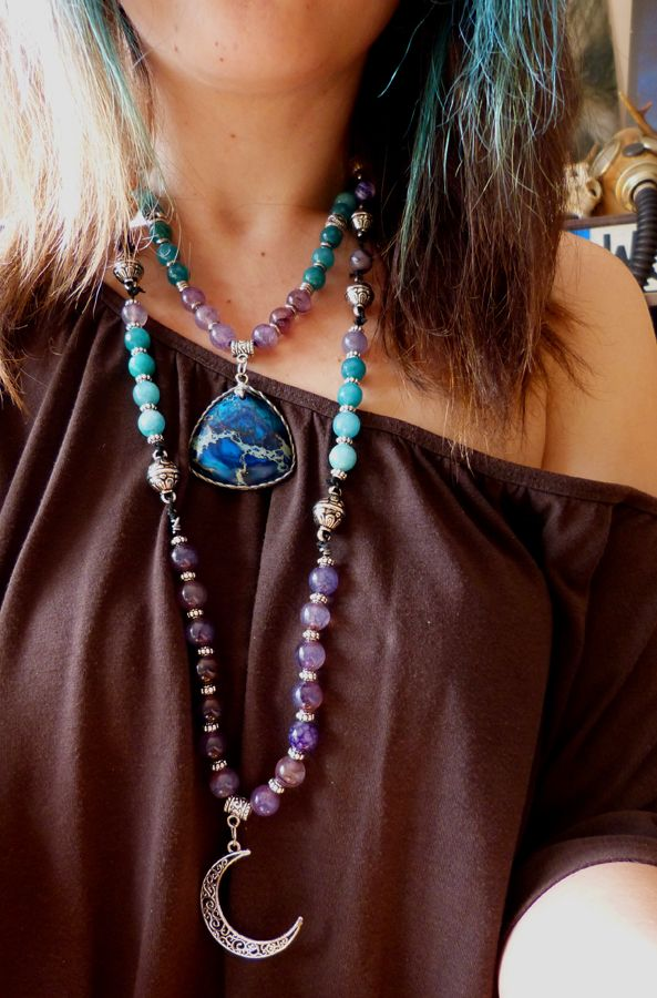 My necklaces with agate, jasper and metal beads :)