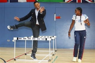 Using news with younger learners    One great source of news items for students of these age groups is CBBC (BBC Children)'s Newsround.     In the picture the actor Will Smith trying out some sports with athletes, boxers and basketball players from the GB Olympic team.