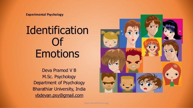 Identification  Of  Emotions  Deva Pramod V B  M.Sc. Psychology  Department of Psychology  Bharathiar University, India  v...