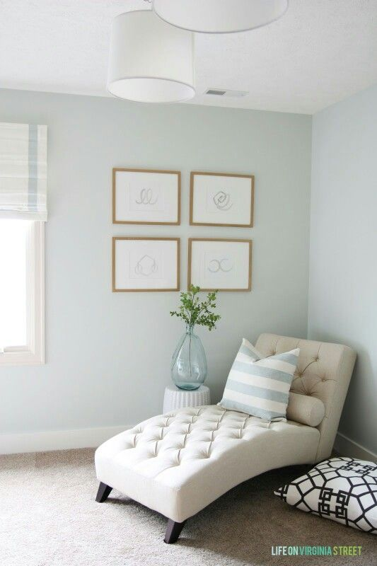 Love the paint colour 'Healing Aloe' by Benjamin Moore; it's airy and calming