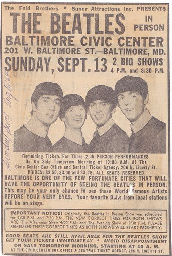 An August 1964 newspaper advertisement in the Sunday Sun promotes The Beatles upcoming appearance at the Baltimore Civic Center. Note the ticket prices: $2.50, $3 and $3.75!