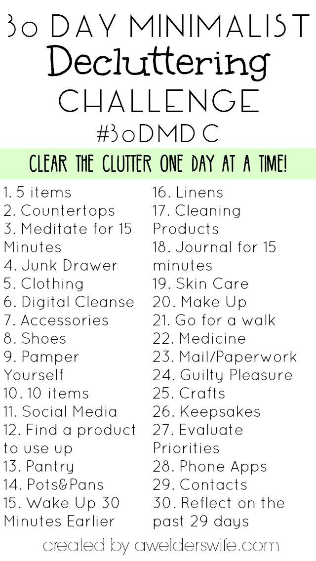 30 Day Minimalist Decluttering Challenge | http://www.awelderswife.com #30DMDC