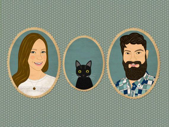 Custom portrait. Custom cartoon family portrait by lilidiprima