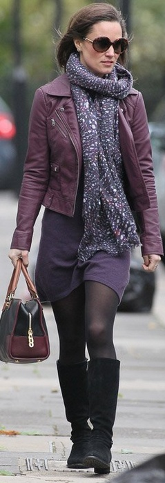 Pippa: Jacket – French Connection    Purse – Loewe    Dress – Cashmere by Tania dress    Shoes – Aquatalia by Marvin K