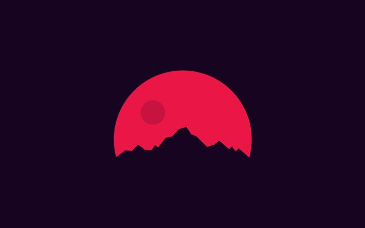 Télécharger fonds d'écran montagnes, 4k, silhouette, soleil rouge, coucher de soleil, un minimum de