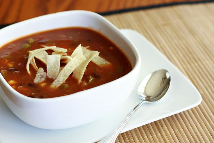 Vegetarian Tortilla Soup Recipe #Vegetarian