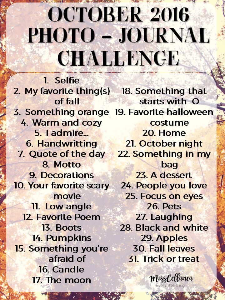 October photo journal challenge!! Doing this!