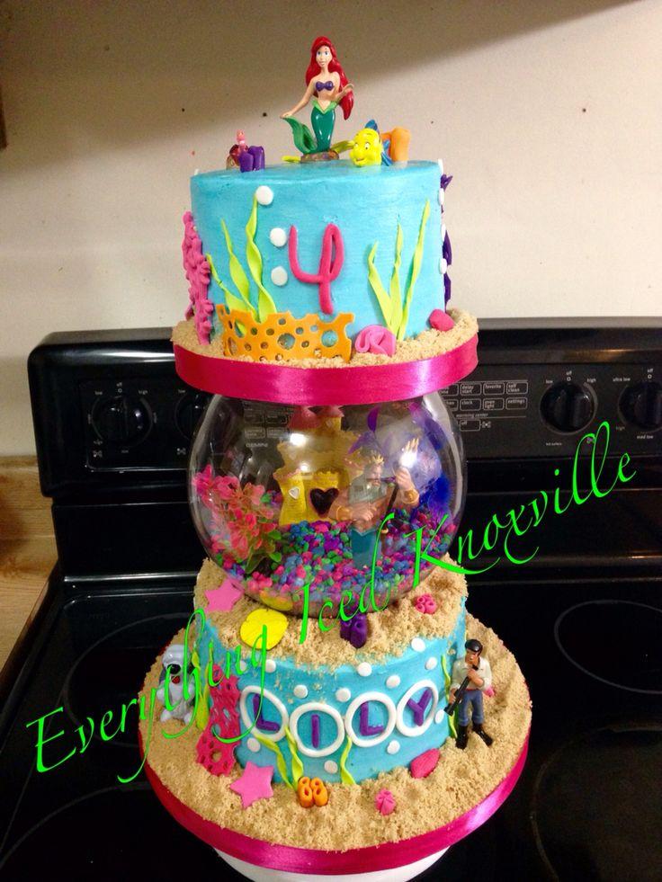 Little mermaid fish bowl cake our custom cakes for Fish tank cake designs