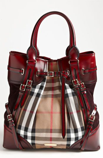 Free shipping and returns on Burberry Prorsum 'House Check' Tote at Nordstrom.com. Shadow-stained bridle trim frames the check-print body of a capacious top-handle tote detailed with sparkling buckles and lush suede side panels.