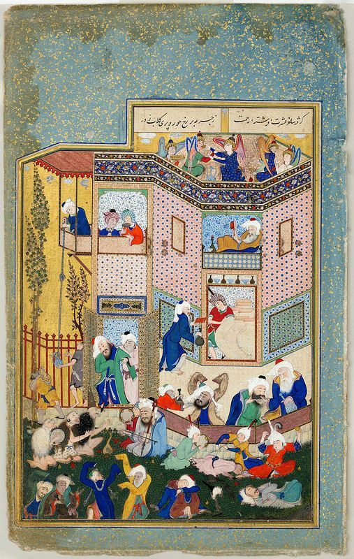 "برگی از دیوان حافظ: اثر سلطان محمد، دوره صفوی، تبریز، در حدود 1531-33 میلادی. Allegory of Worldly and Otherworldly Drunkenness"", Folio from the Divan of Hafiz Painting by Sultan Muhammad (active first half 16th century) Object Name: Folio from an illustrated manuscript Date: ca. 1531–33 Geography: Iran, Tabriz Culture: Iran Medium: Opaque watercolor, ink, and gold on paper Dimensions: Illuminated folio: Painting: H.21.6 cm"