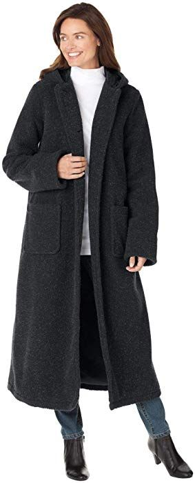 3bc72714593 Woman Within Plus Size Hooded Berber Fleece Duster Coat - Black