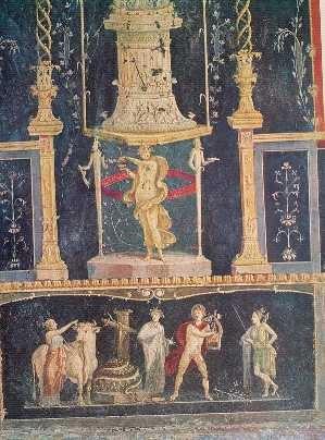 """*** Fresco de Apolo y Pitón, Casa de los Vettii, Pompeya, cuarto estilo o """"estilo ilusionista"""" (segunda mitad del siglo I d.C)."""