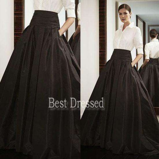 Black satin skirt