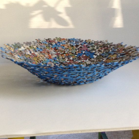 Large Multi Colored Jigsaw Puzzle Bowl by SJPuzzles on Etsy, $35.00