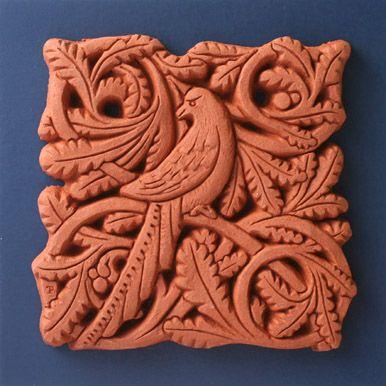 Passenger Pigeon terracotta tile by Black Dog of Wells studio