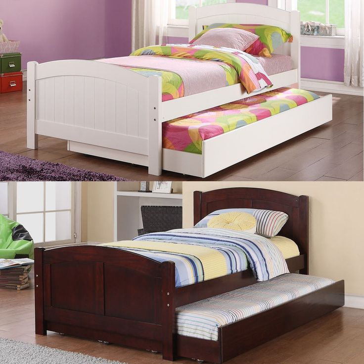 NEW Daybed with Trundle in White, Cherry Bedroom Furniture Twin Bed 12 / 12 Slat #Poundex #Contemporary