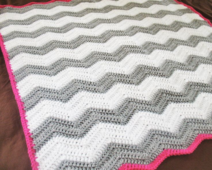 CHEVRON BABY BLANKET : white and grey chevron crochet baby blanket with raspberry edge. $50.00, via Etsy.