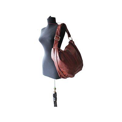 Sabrina Brown Italian Leather Hobo Bag - £64.99