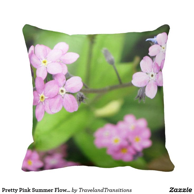 Pretty Pink Summer Flowers on Green Background