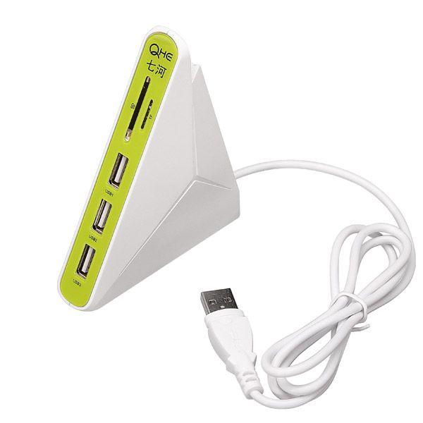 QHE 3 in 1 USB 2.0 Hub 3 Port USB HUB With SD TF Mico SD Card Reader