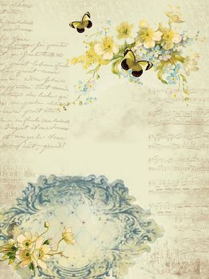 Astrid's Artistic Efforts: Yellow flowers blue swirl and beige text background