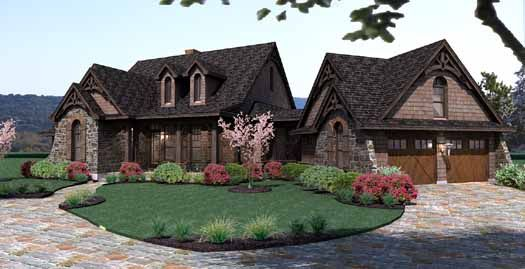 Cottage Style House Plans - 1698 Square Foot Home , 1 Story, 3 Bedroom and 2 Bath, 2 Garage Stalls by Monster House Plans - Plan 61-101