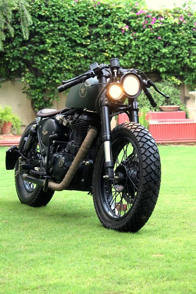 "Assault by Rajputana Customs built from a Royal Enfield 500.  Looks like the bike from ""the Master"""