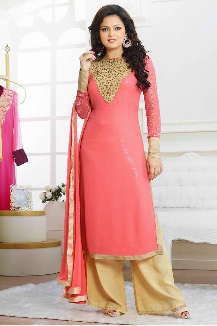 Designer salwar kameez mesmeric peach color net designer suit - Pink Color Drashti Dhami Style Anarkali Salwar Kameez Online From Easysarees