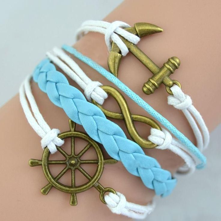 New Style Bronze Anchor Infinity Rudder Charms braid Bracelet Blue Leather Fashion Women Costume Jewelry #Affiliate