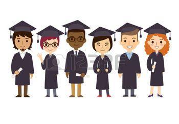 titulo universitario: Conjunto de diversos estudiantes universitarios o de graduación universitaria con títulos aislados sobre fondo blanco. Estilo de dibujos animados plana lindo y simple.