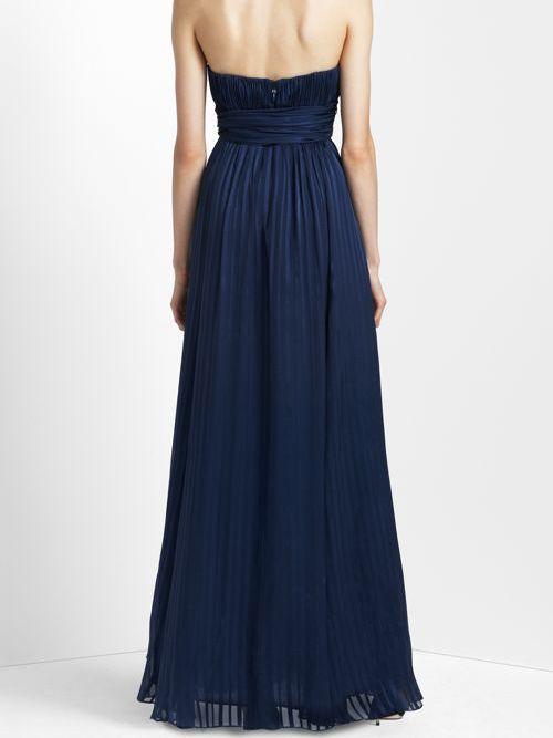 Strapless Straight Neckline Silk A-line Evening Dress with Sash Ties