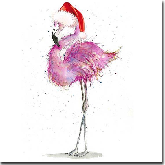 Flamingo Christmas Cards.Flamingo Christmas Card Pink Flamingo Card Flamingo Holiday