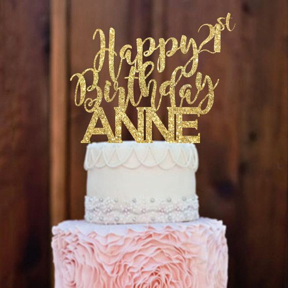 Cake Topper Happy Birthday Cake Topper 21st by MommyGotTalent