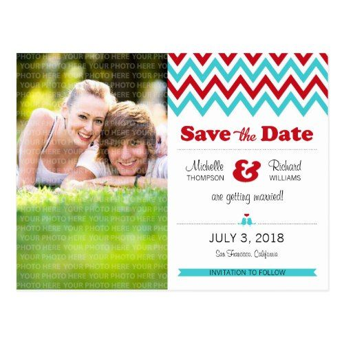 Modern Red and Aqua Chevron Photo Save the Date Postcard