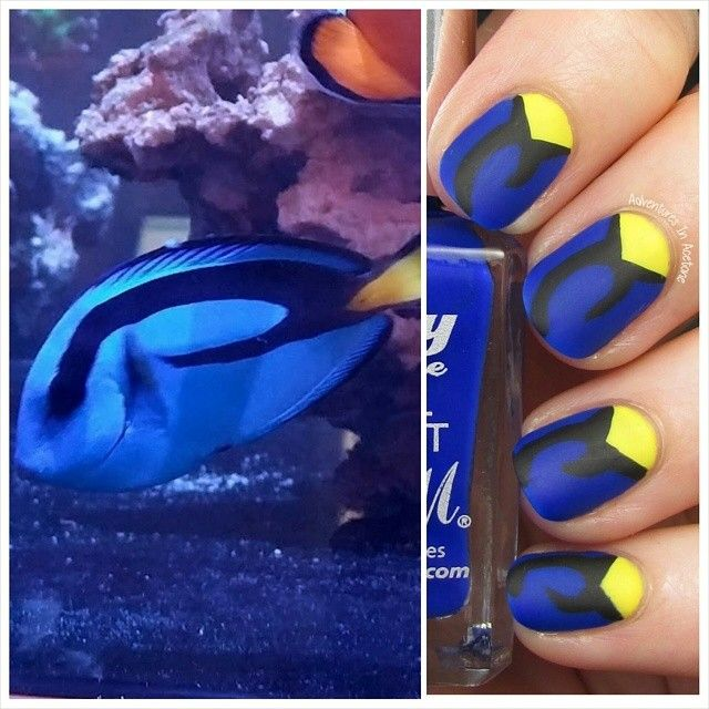 """""""Dory"""" Blue Tang fish Inspired Nails - I will do this to go see finding dory in theaters! Who's with me?"""