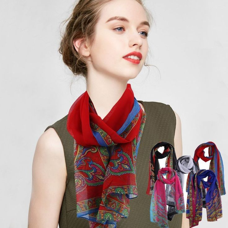 Fashion Ladies Voile Scarves Cashew Nuts Printing Woman Chiffon Scarf Female 1HE