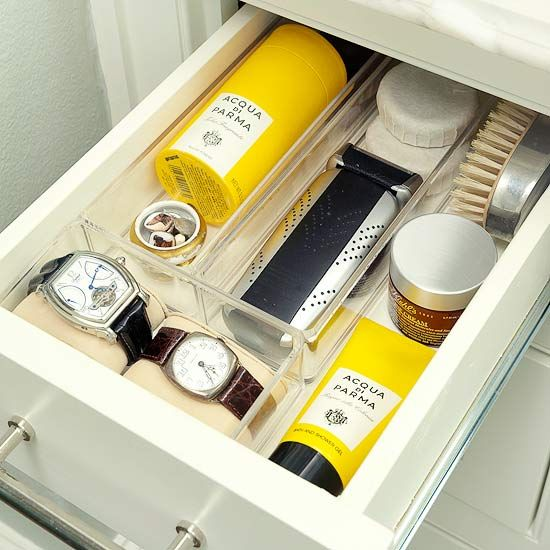 Stress-Free Morning - Clear acrylic trays keep jewelry and shaving supplies tidy and accessible in a vanity drawer.