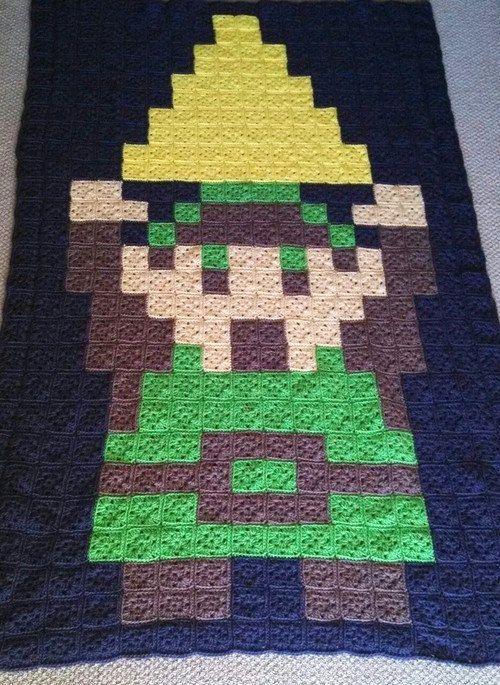Custom Crochet Blanket Afghan Pixel Video Game by Sminostuff