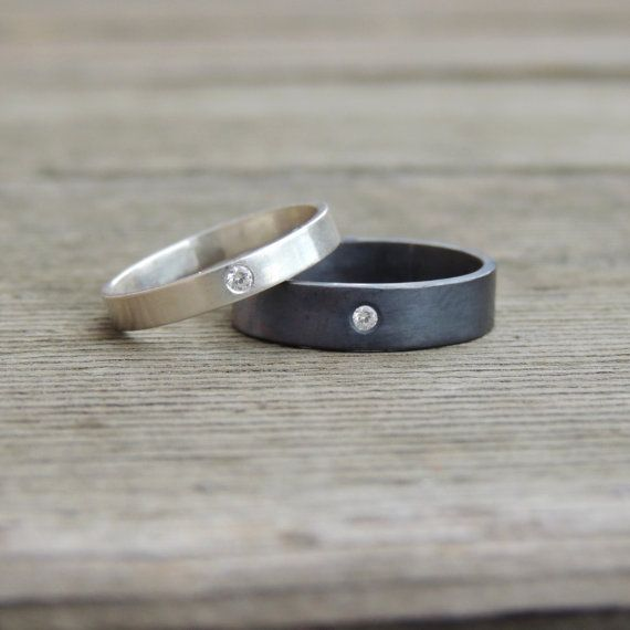 His and Hers Wedding Band Set, Blackened Oxidized Silver Ring Set, Gem of your choice, Hand made custom Ring.