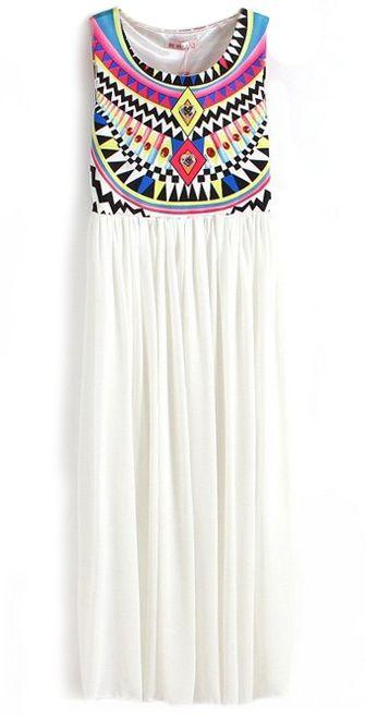 White Sleeveless Geometric Tribal Print Chiffon Dress - Sheinside.com
