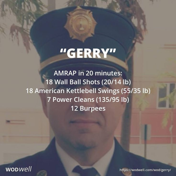 """""""Gerry"""" WOD - AMRAP in 20 minutes: 18 Wall Ball Shots (20/14 lb); 18 American Kettlebell Swings (55/35 lb); 7 Power Cleans (135/95 lb); 12 Burpees"""