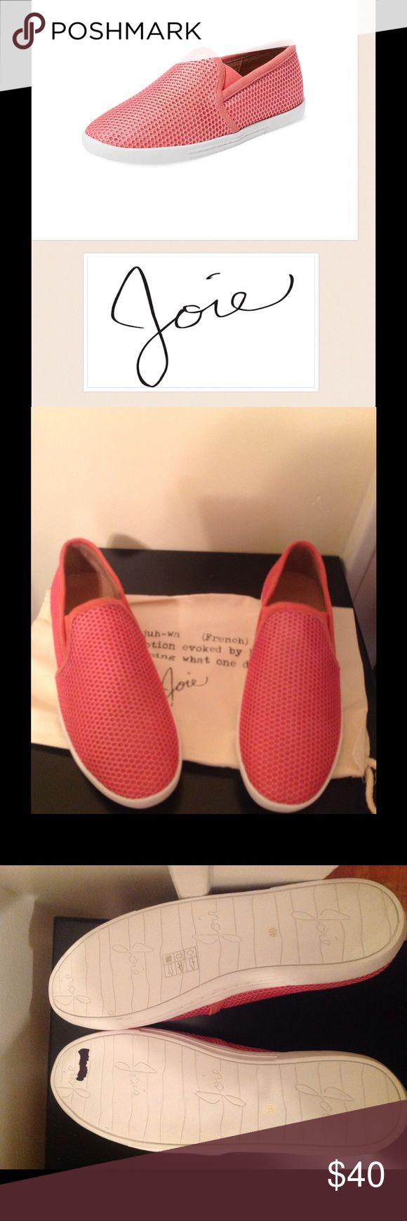 "NEW Joie ""Kidmore"" preppy pink slip-on shoes. NEW Joie ""Kidmore"" preppy pink slip-on shoes.  Easy slip-on wear with rounded toe, leather lining, lightly padded leather footbed, and rubber outsole.  No box or storage bag.  Writing on bottom of shoe.  No trades. Joie Shoes Sneakers"