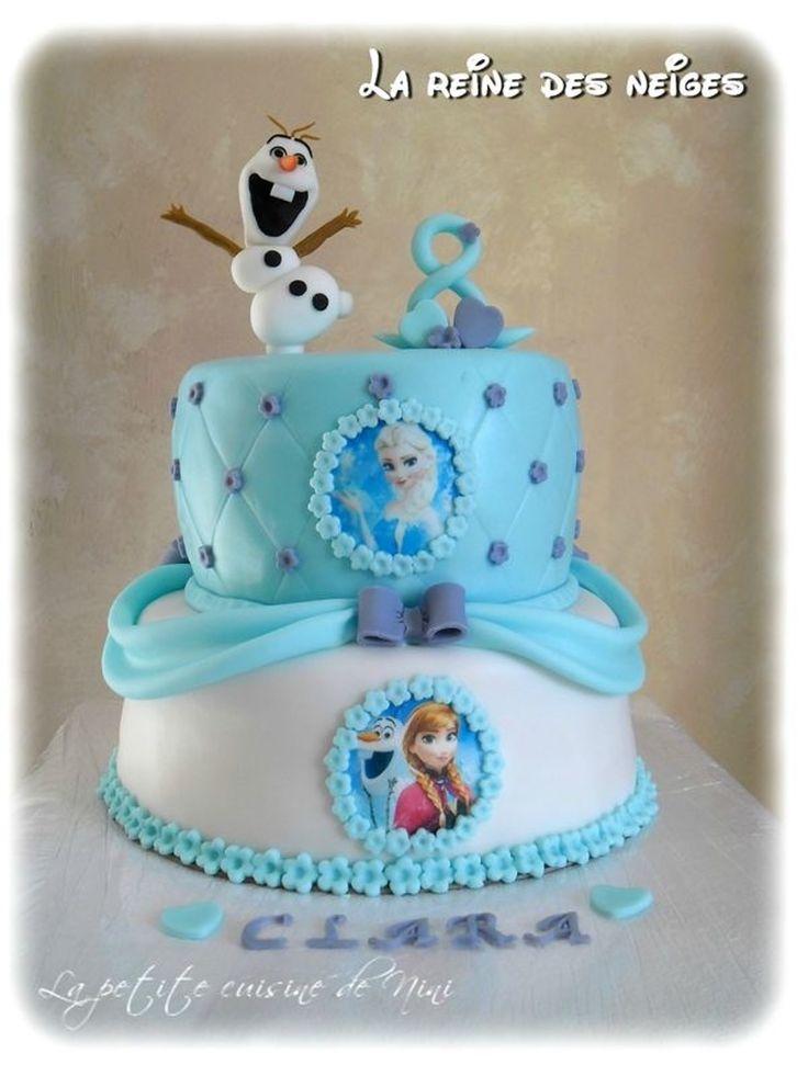Gâteau d'anniversaire fille deux pièces Olaf Elsa et Anna La Reine des Neiges